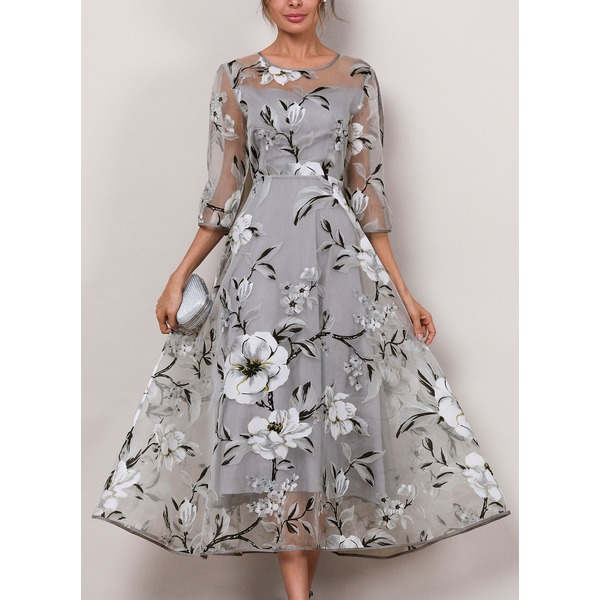 Floral 3/4 Sleeves Midi X-line Dress (1955189432) 10