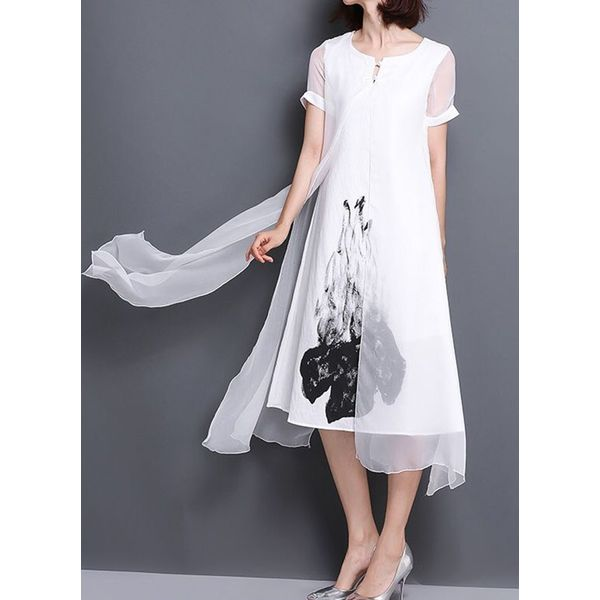 Casual Floral Wrap Tunic Shift Dress (1955563872)