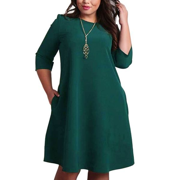 Solid 3/4 Sleeves Knee-Length A-line Dress (1955358489) 11