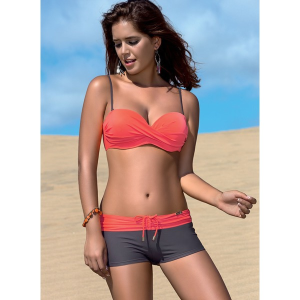 Halter Color Block Bandage With Rim Bikinis Swimwear (30015262967) 2