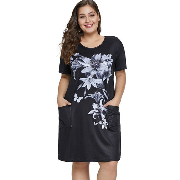 Plus Size Floral Pockets Short Sleeve Above Knee Sheath Dress (1955382188) 6