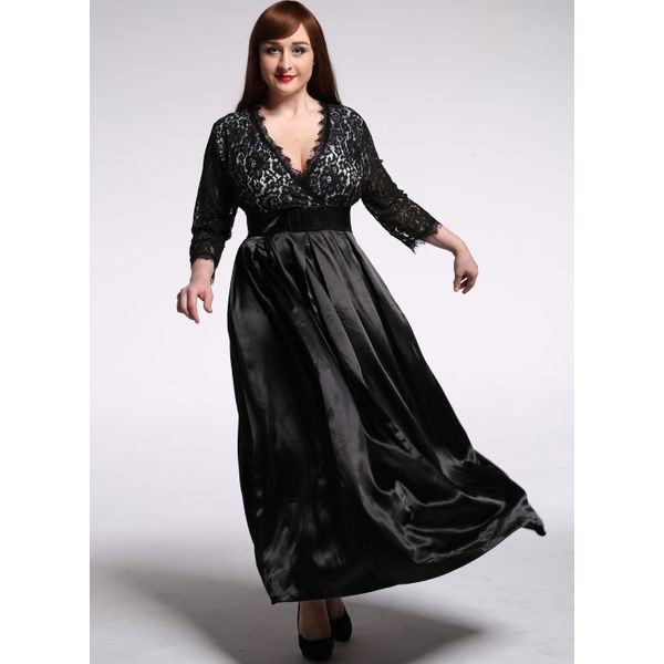 Plus Size Solid Lace 3/4 Sleeves Maxi X-line Dress (1955377395) 6