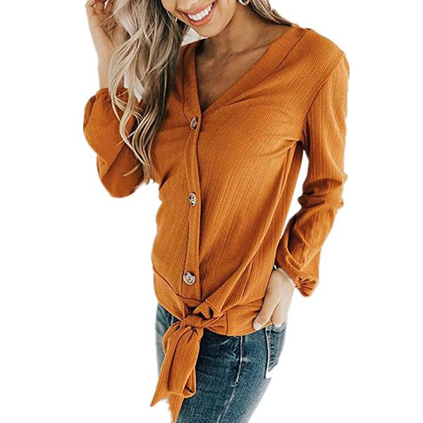 Solid Casual V-Neckline Long Sleeve Blouses (1645381751) 2