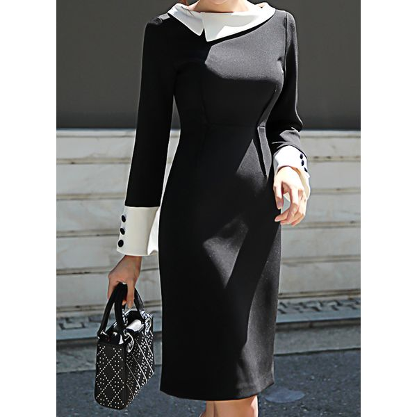 Color Block Buttons Long Sleeve Above Knee Sheath Dress (1955361960) 8
