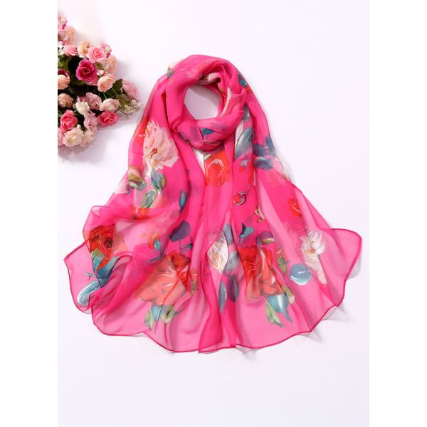 Casual Floral Scarves (1775408209, Rose