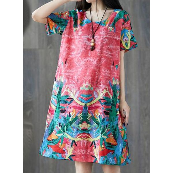 Casual Floral Tunic Round Neckline A-line Dress (1955593618)