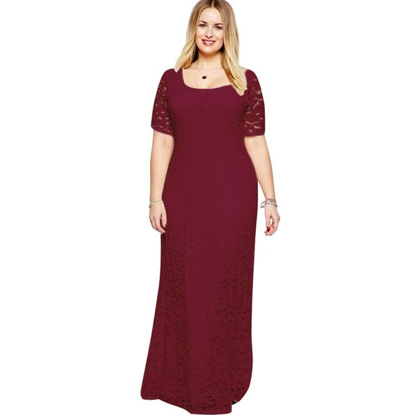 Plus Size Solid Half Sleeve Maxi X-line Dress (1955378433) 3