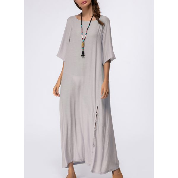 Solid Buttons Half Sleeve Maxi A-line Dress (1955140373) 10