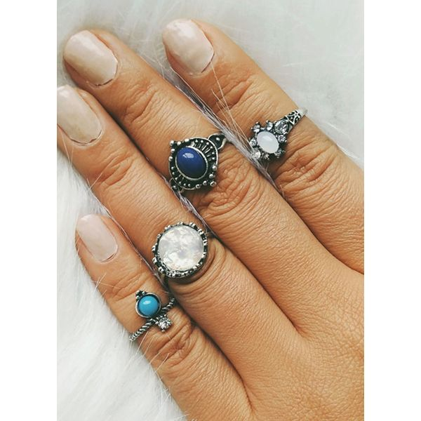 Ball Gemstone Rings 4pcs (1875383056) 6