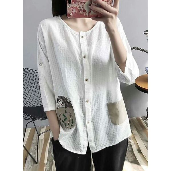 Color Block Casual Round Neckline 3/4 Sleeves Blouses (1645378128) 1