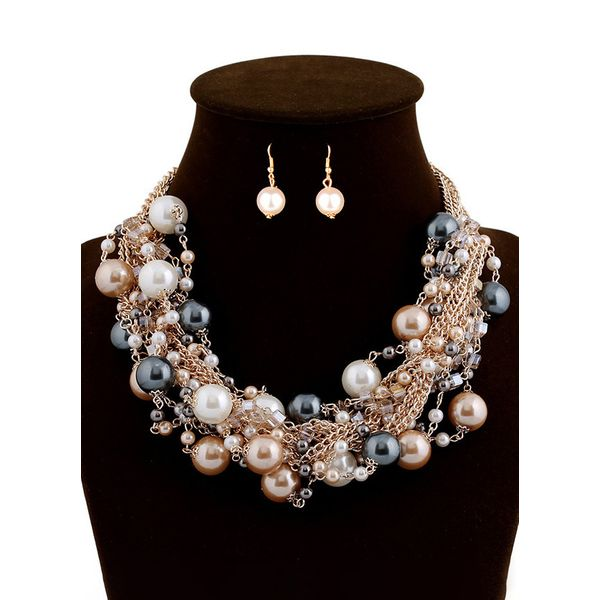 Round Pearls Necklace Jewelry Sets (1935568084)