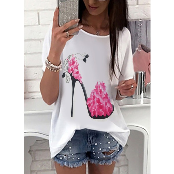 Floral Round Neck Short Sleeve Casual T-shirts (1685138306) 11