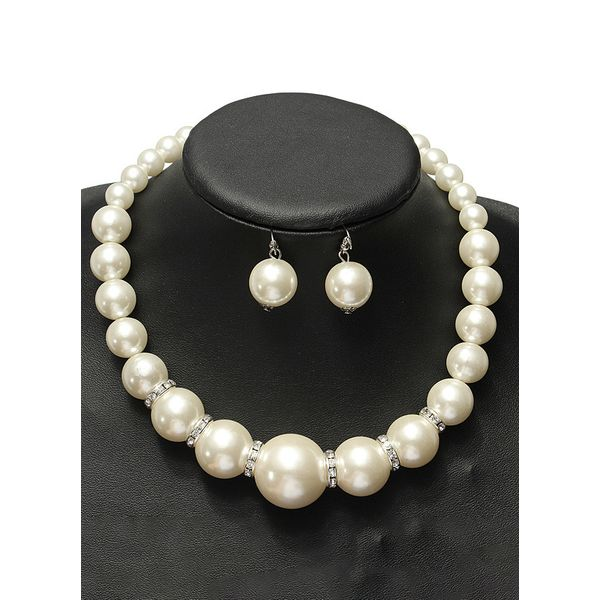 Ball Pearls Necklace Earring Jewelry Sets (1935562826)