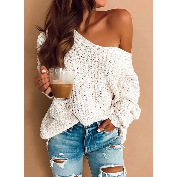 Oblique Neckline Solid Loose Long Shift Sweaters (1675373338) 11