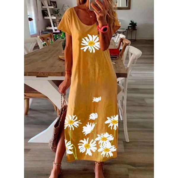 Casual Floral Tunic Round Neckline Shift Dress (1955583848)
