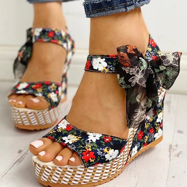 Women's Bowknot Lace-up Flower Slingbacks Cloth Wedge Heel Sandals (1625574811)