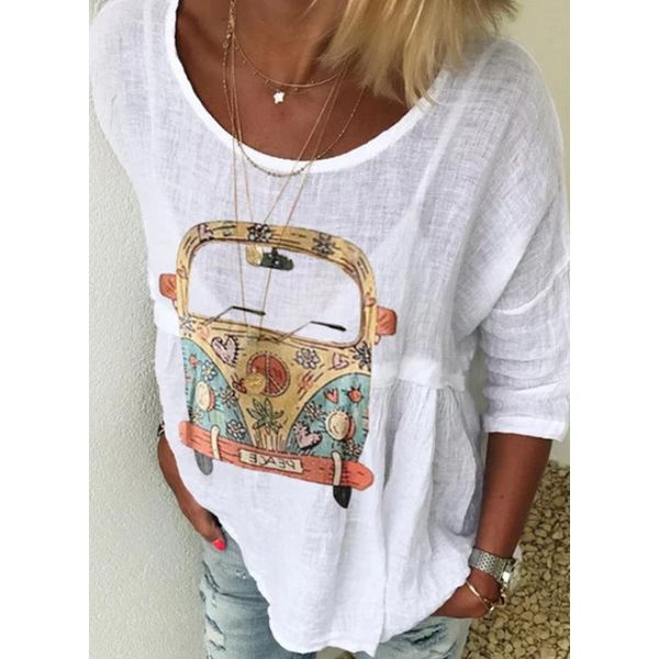 Color Block Round Neck 3/4 Sleeves Casual T-shirts (1685600164)