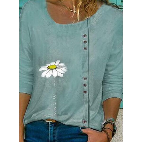 Floral Casual Round Neckline Long Sleeve Blouses (1645579609)