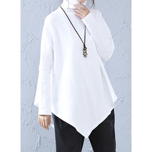 High Neckline Solid Loose Long Shift Sweaters (1675376851) 5