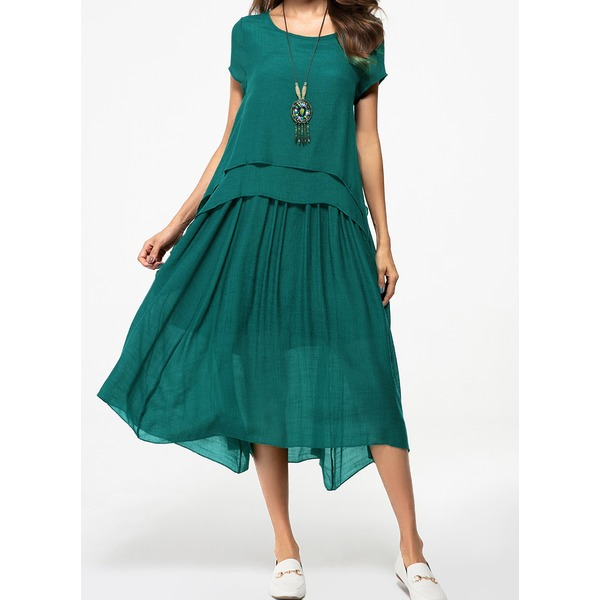 Solid Short Sleeve Midi A-line Dress (1955146128) 3