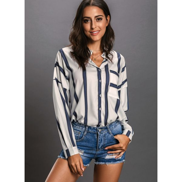 Stripe Casual Collar Long Sleeve Blouses (01645378042) 10