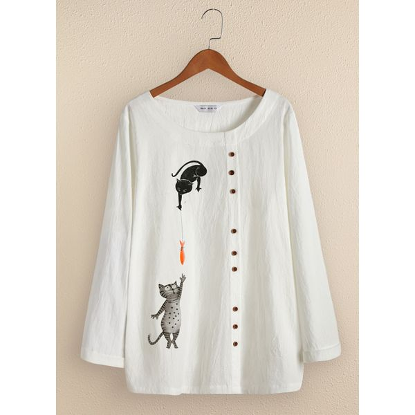Animal Casual Round Neckline Long Sleeve Blouses (1645445198)