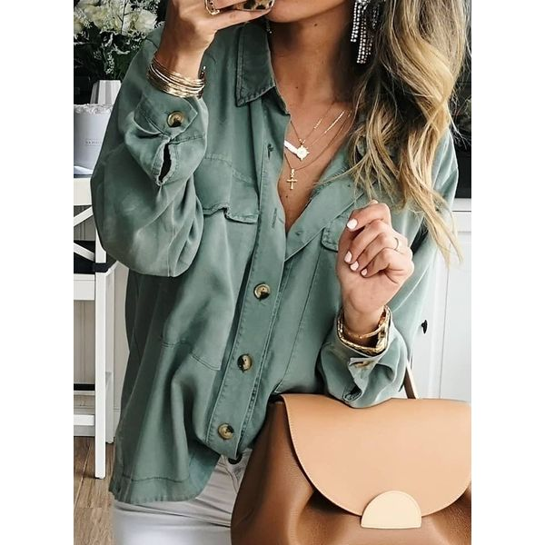 Solid Casual V-Neckline Long Sleeve Blouses (1645538608)