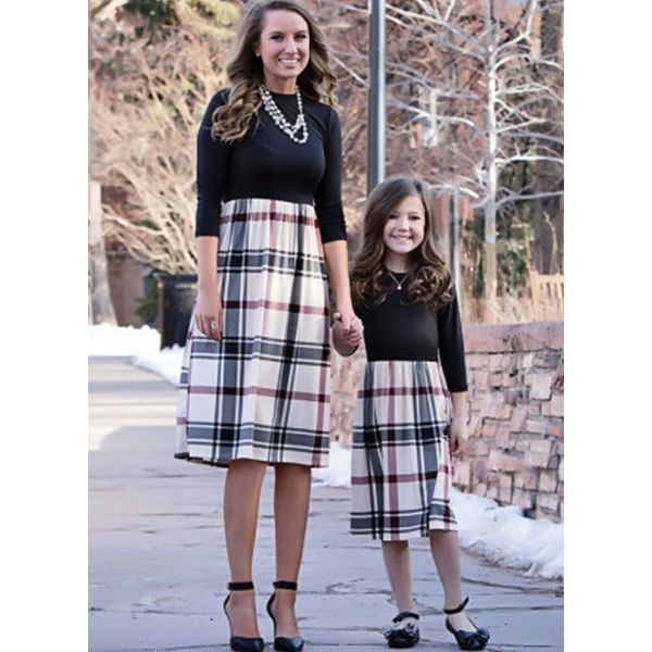 Mommy and Me Plaid Casual 3/4 Sleeves Family Outfits (30245591825)