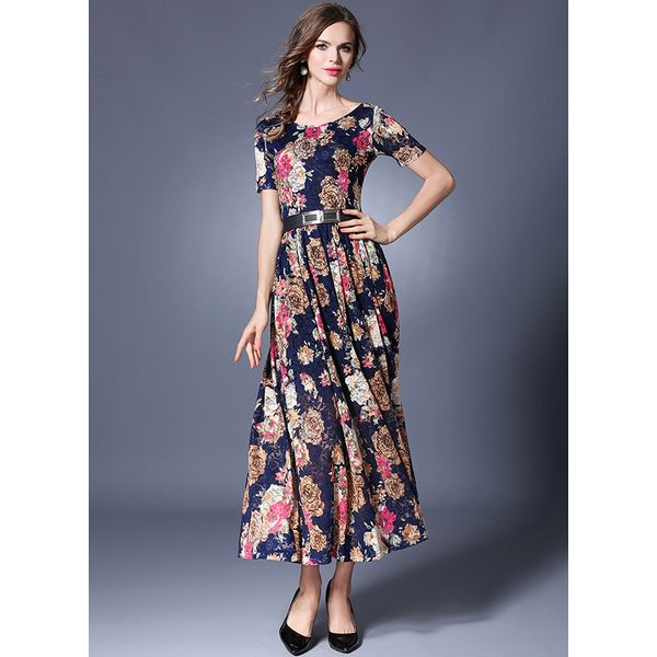 Floral Short Sleeve Maxi X-line Dress (1955377630) 6