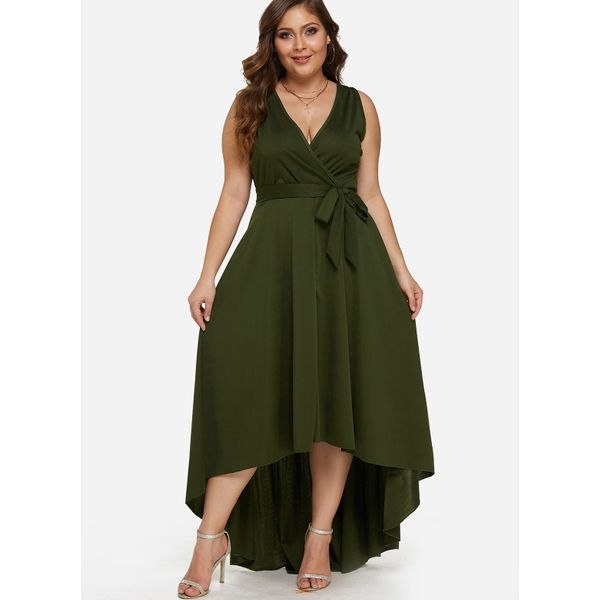 Plus Size Solid Wrap Sleeveless High Low X-line Dress (1955380202) 10