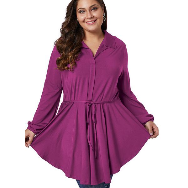 Plus Size Solid Casual Collar Long Sleeve Blouses (1645380182) 1