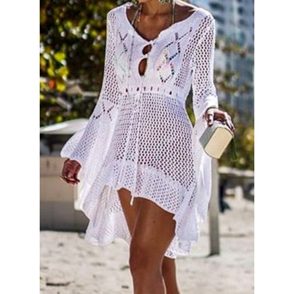 Polyester Solid Cover-Ups Swimwear (30015554358)