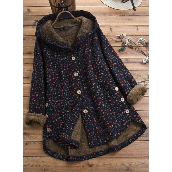 Long Sleeve Hooded Buttons Parkas Coats (1715471745)
