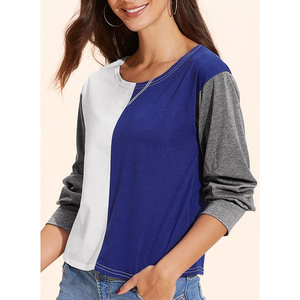 Color Block Casual Round Neckline Long Sleeve Blouses (01645405936, Blue;pink