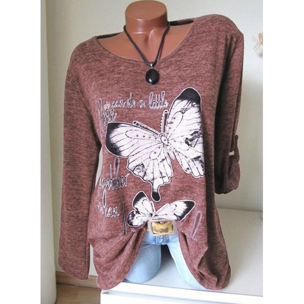 Animal Casual Round Neckline Long Sleeve Blouses (1645360694) 2