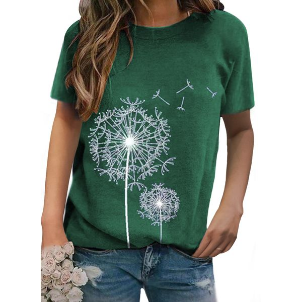 Floral Round Neck Short Sleeve Casual T-shirts (1685550986)
