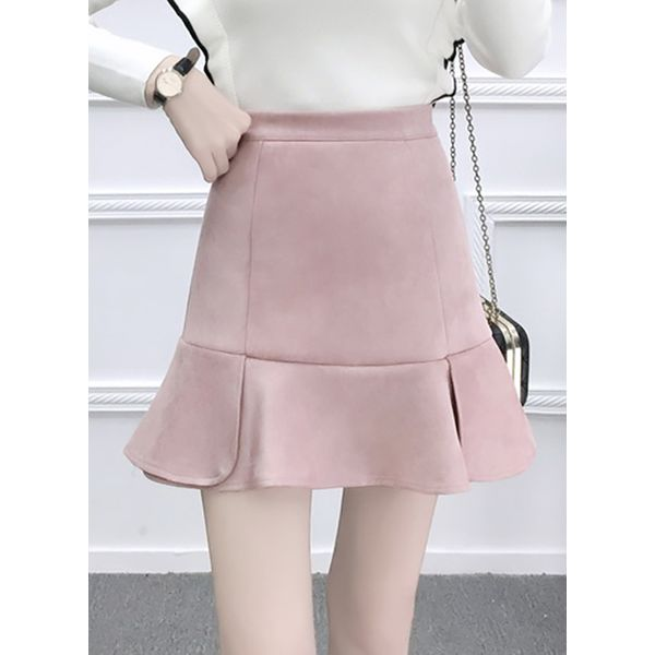 Solid Above Knee Cute Skirts (1725377595) 2