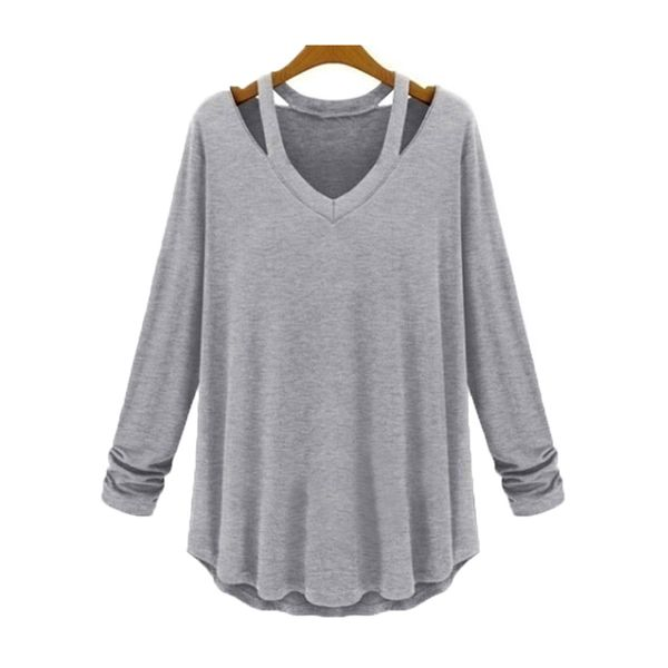 Solid Round Neck Long Sleeve Casual T-shirts (1685382873)