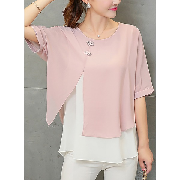 Solid Casual Round Neckline Half Sleeve Blouses (1645279448) 3