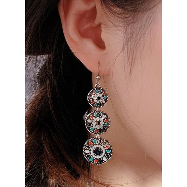 Casual Floral No Stone Dangle Earrings (1855584598)