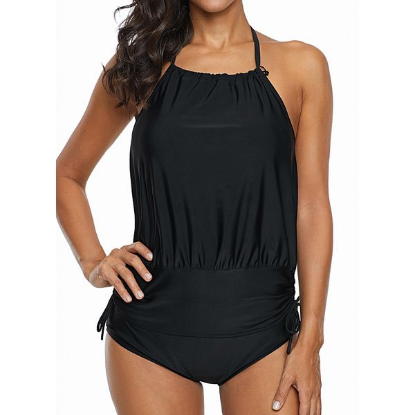 Nylon Polyester Solid Knotted Tankinis Swimwear (30015527208)