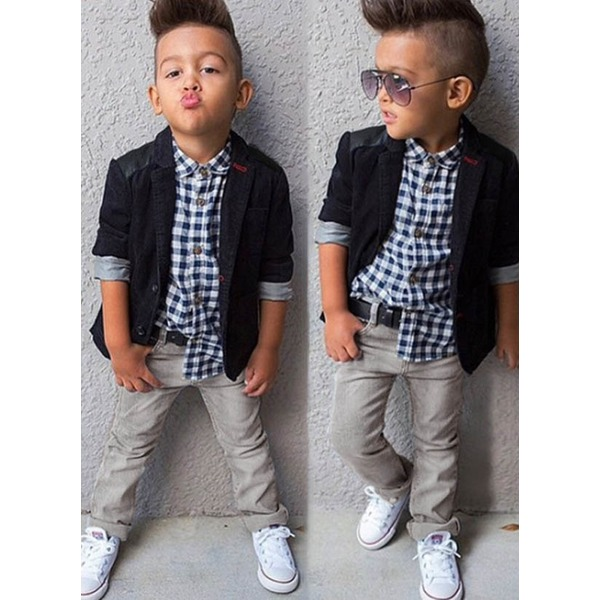 Boys' Plaid Going out Long Sleeve Clothing Sets (30165297487) 2