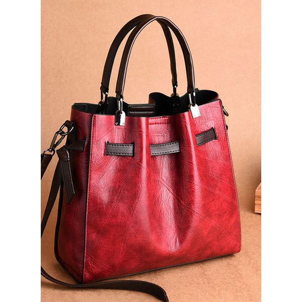 Shoulder Tote Fashion Double Handle Bags (1825367209, Black;burgundy;brown;dark green