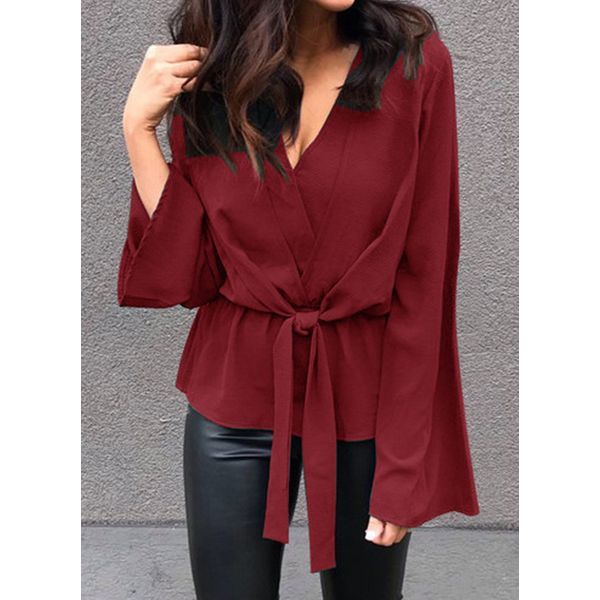 Solid Casual V-Neckline Long Sleeve Blouses (1645513981)