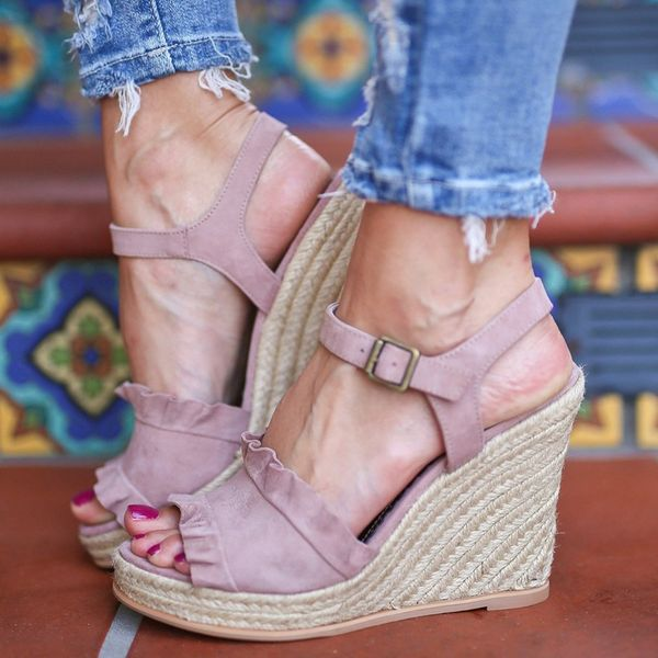 Buckle Ruffles Peep Toe Wedge Heel Shoes (1625382129) 9