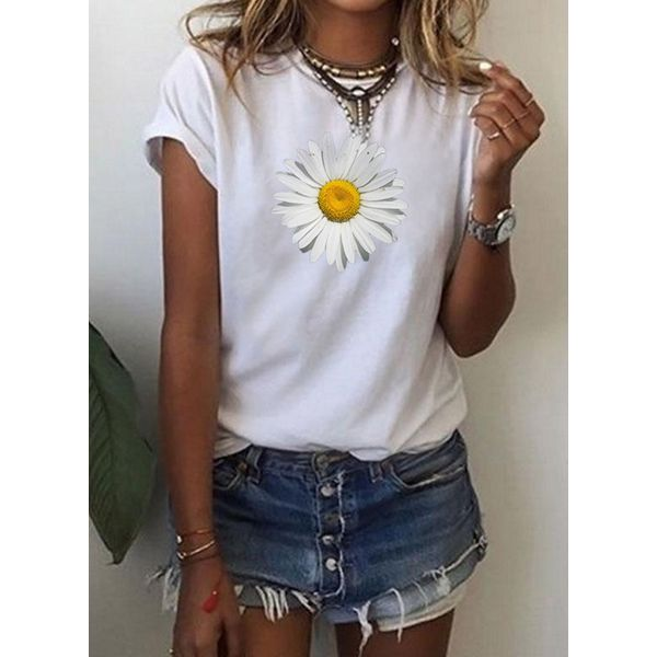 Floral Round Neck Short Sleeve Casual T-shirts (1685600145)
