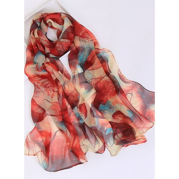 Casual Floral Scarves (1775343131, Red