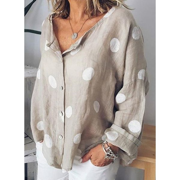 Plus Size Polka Dot Casual Round Neckline Long Sleeve Blouses (30355574323)