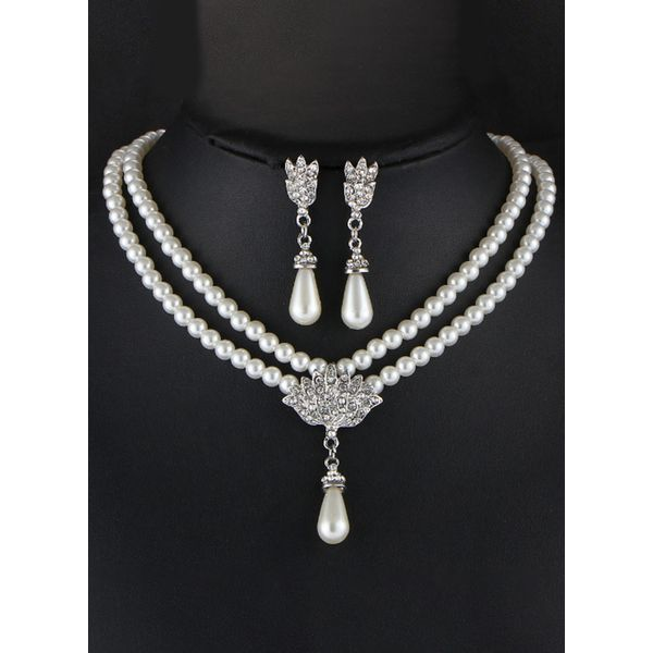 Water Drop Pearls Necklace Earring Jewelry Sets (1935581875)