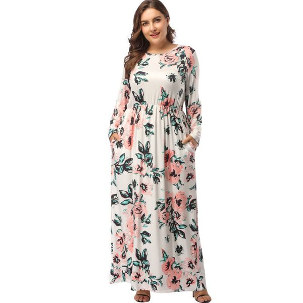 Plus Size Floral Long Sleeve Maxi X-line Dress (1955381705) 6